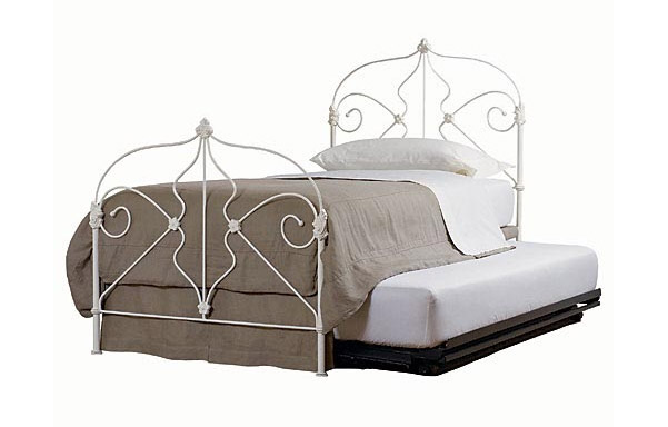 Marseille trundle bed with trundle –antique white iron