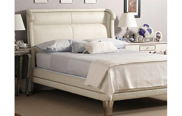 Wing white leather bed