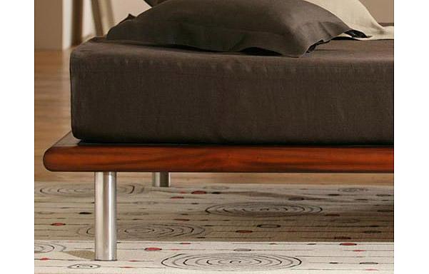 Mies platform bed tiger mahogany finish detail