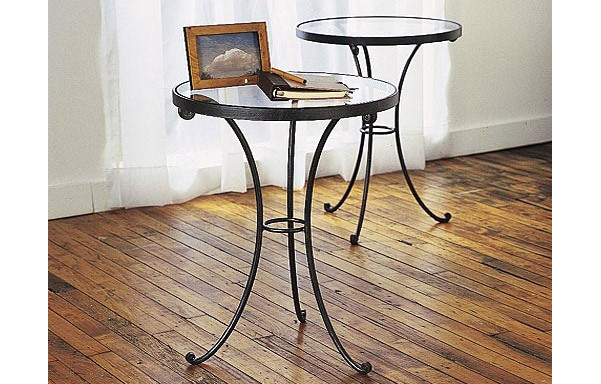 Round Iron Side Table With Gl Top Pair