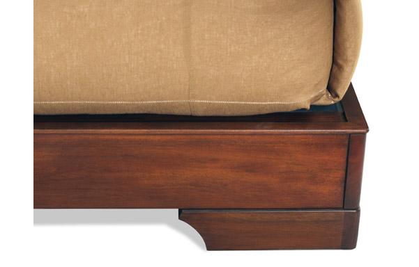 Sleigh platform bed mahogany leg detail