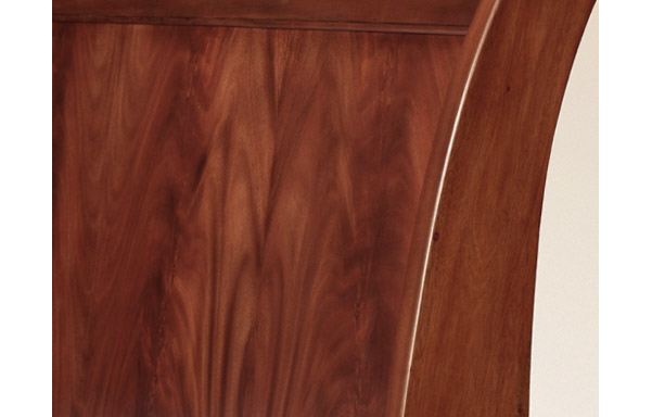 Sleigh platform bed flame mahogany headboard