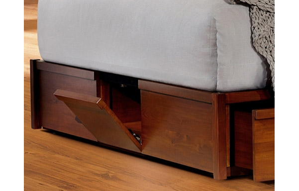 Sleigh platform bed storage base compartment