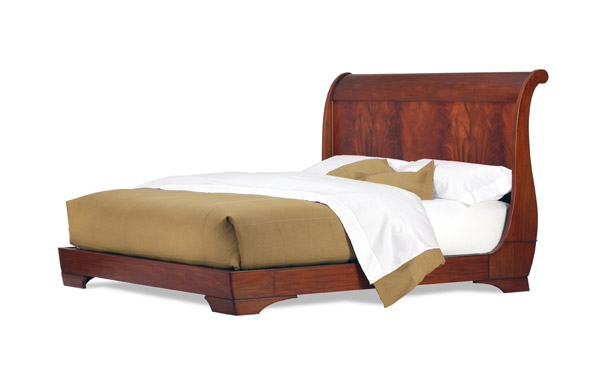 Sleigh king size platform bed - flame mahogany