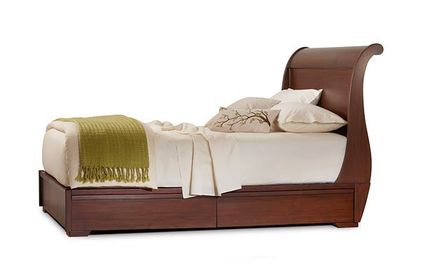 Sleigh platform bed with drawers closed
