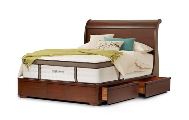 Sleigh queen platform bed with drawers open