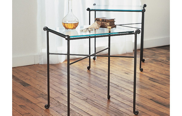 Side table with glass top - pair