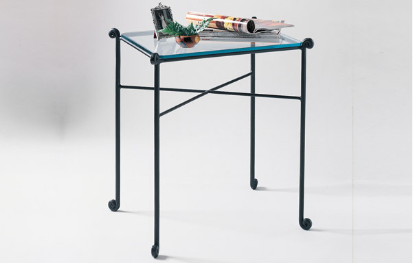 Forged iron side table with glass top