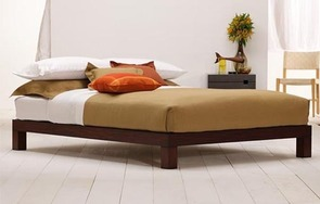 Madera queen platform bed in Dark Brown Mahogany