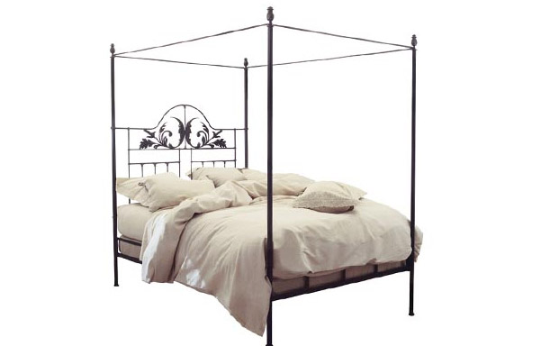 Iron Harvest Moon canopy bed with gilded highlights