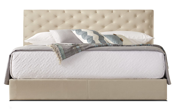 San Diego king bed upholstered in linen 3006
