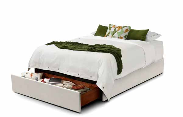 Queen 1 Drawer Natural White