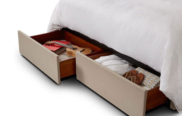 Heavy duty upholstered storage drawer detail (2 dwrs king, 1 dwr queen).