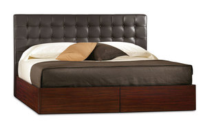 Newhouse king bed in tumbled black leather with with mahogany base