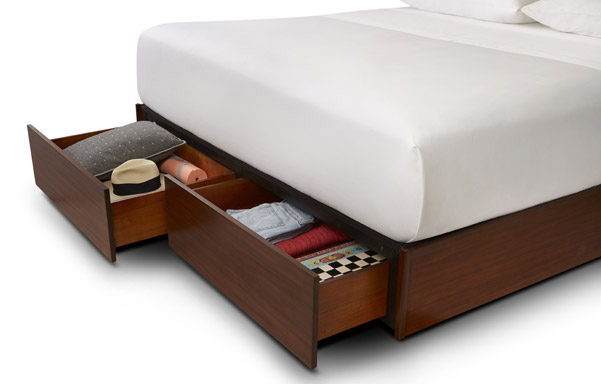Newhouse king bed with storage drawer detail