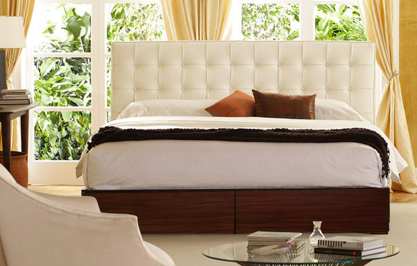 Newhouse king bed in white leather room setting