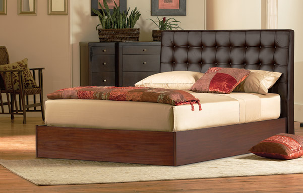 Newhouse queen bed in black leather room setting