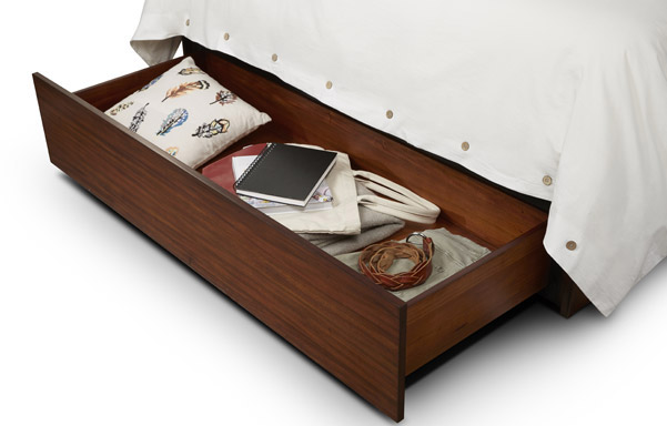 Newhouse queen bed with storage drawer detail