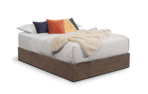 Queen size Upholstered Platform in brown velvet.