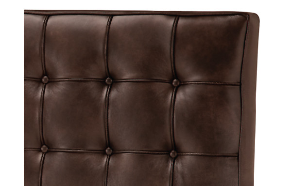 Newhouse bed vintage chestnut leather upholstery detail