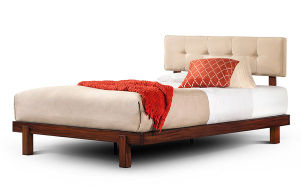 Alana queen bed in tiger mahogany with linen upholstered headrest