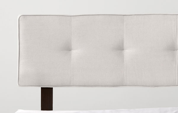 Alana natural white upholstered headrest detail