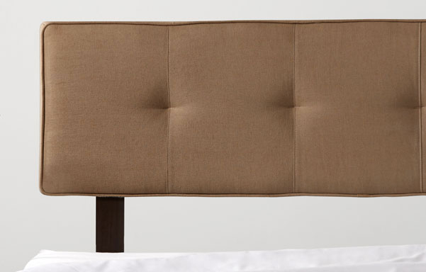 Alana brown velvet upholstered headrest detail